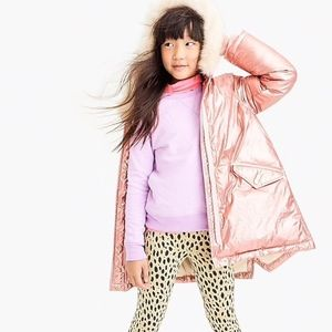 J. Crew Girls' Metallic Fishtail Parka Primaloft